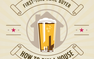 First Time Home Buyer How To Buy A House in brown text with graphic of beer in front of a home in the middle