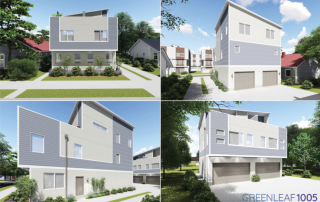 Four images of rendering of the same modular three story home