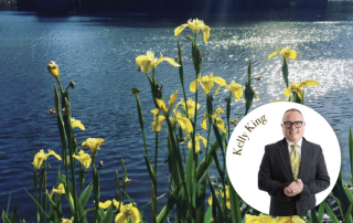 Lake with yellow flowers in front of it and a round white circle over the image with a picture of Kelly King in it