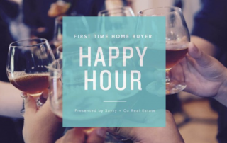 People doing a cheers with glasses of beer with first time home buyer happy hour over the image