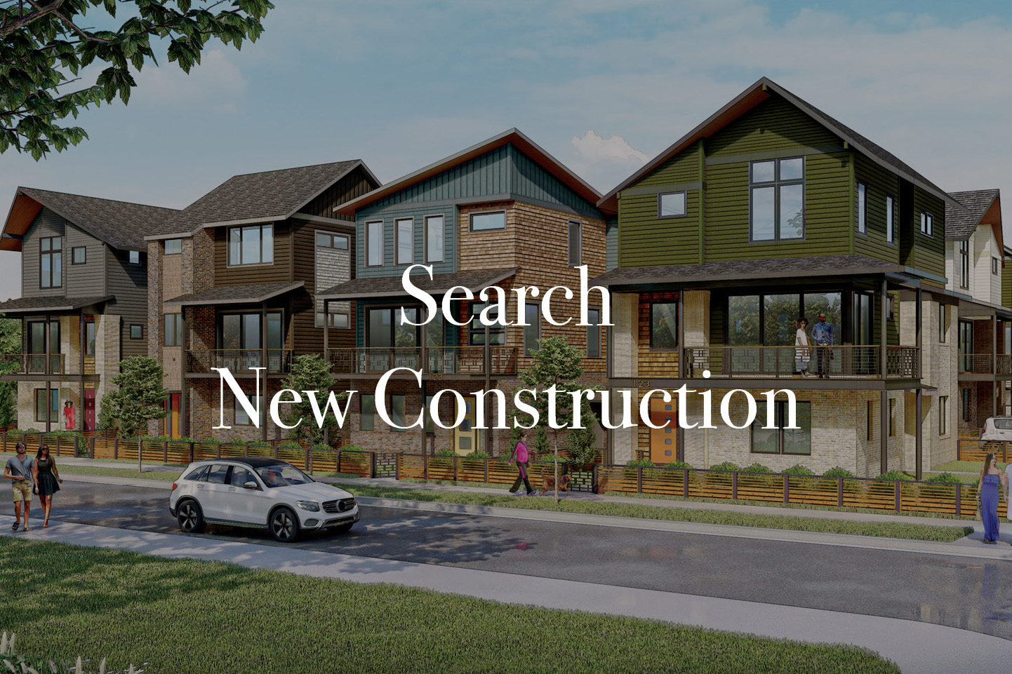 Row of three story townhomes mix of siding brick and stone with the text Search New Construction typed over image in white font